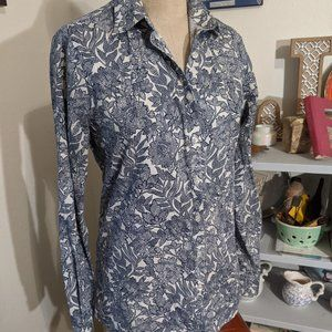Navy and White Floral Lands' End 6 Tall Blouse